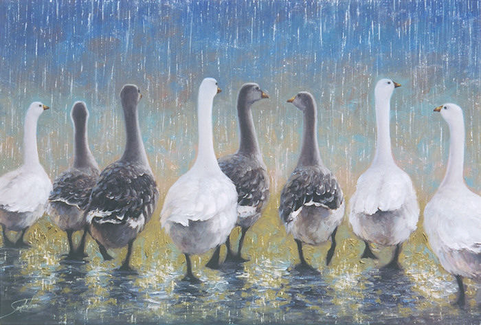 Waddling in the Rain - Original image for Bentley House Publishing Co.