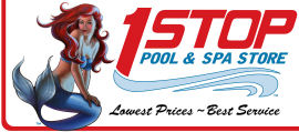 Logo for 1 Stop Pool & Spa Store, by Sambataro