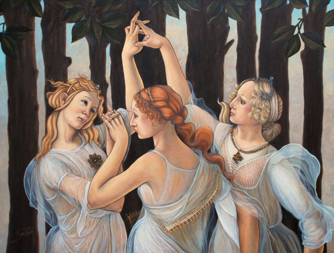 Another large-scale painting by Sambataro: Three Graces