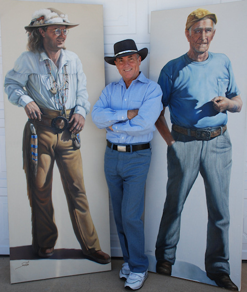Artist with Life-size Portraits: 'The Replicator' (a friend), 'Grandpa' (Wife's Grandfather)